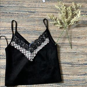 NWOT Zara faux suede embroidered tank